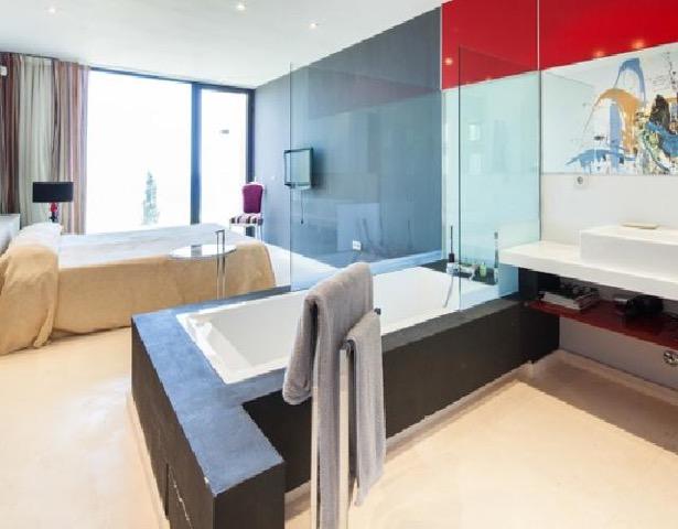 Wall Bathroom To Wall Window Chic White Stunning Ibiza Villa