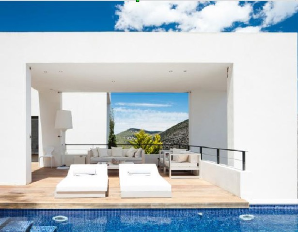 Wall To Wall Window Chic White Stunning Ibiza Villa Pool