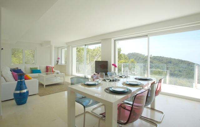 Wall To Wall Window Dining Room Ibiza Villa