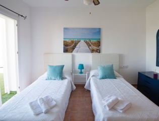 White Modern Single Beds Bedroom Ibiza Villa