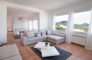White Traditional Villa Clean Modern Sitting Room Ibiza