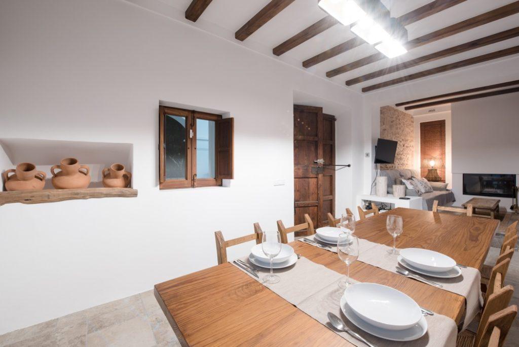 White Villa Wooden Beams Dining Room Ibiza
