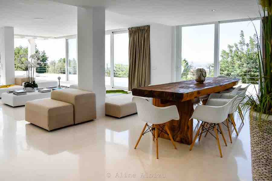 White Wall To Wall Windows Ibiza Villa Dining Room