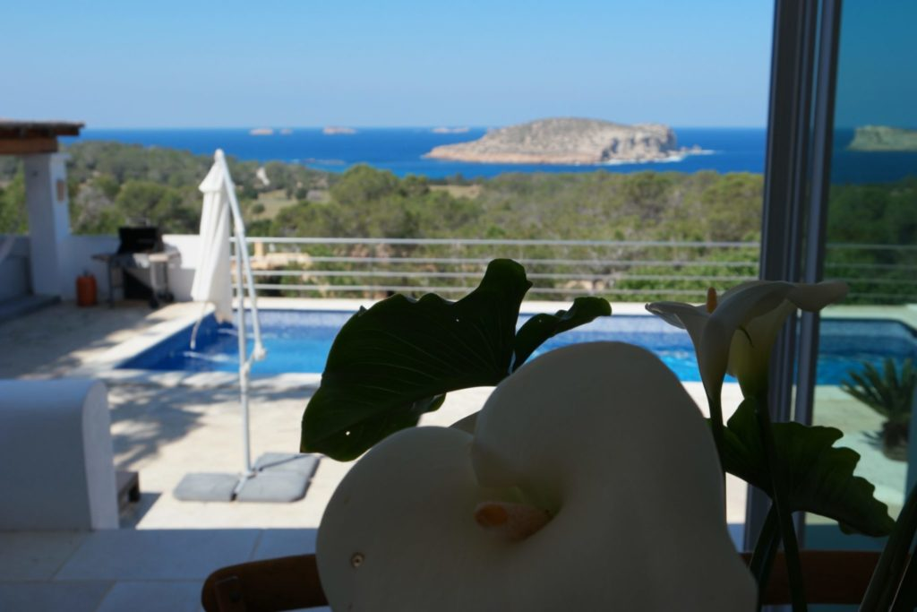 Window View Sea Villa Ibiza Flowers