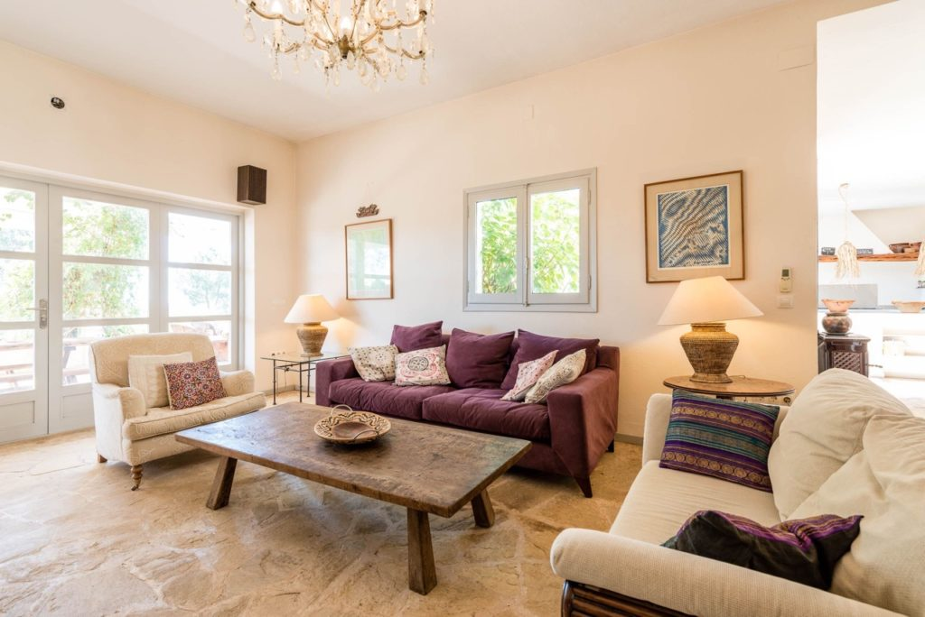 Wonderful Gorgeous Villa Ibiza Purple Sofa Sitting Room