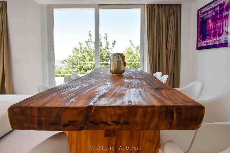 Wooden Dining Table Ibiza Villa Luxury