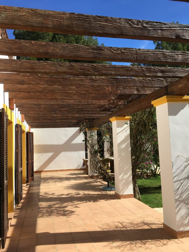 Wooden Driveway Beams Exterior Ibiza Villa