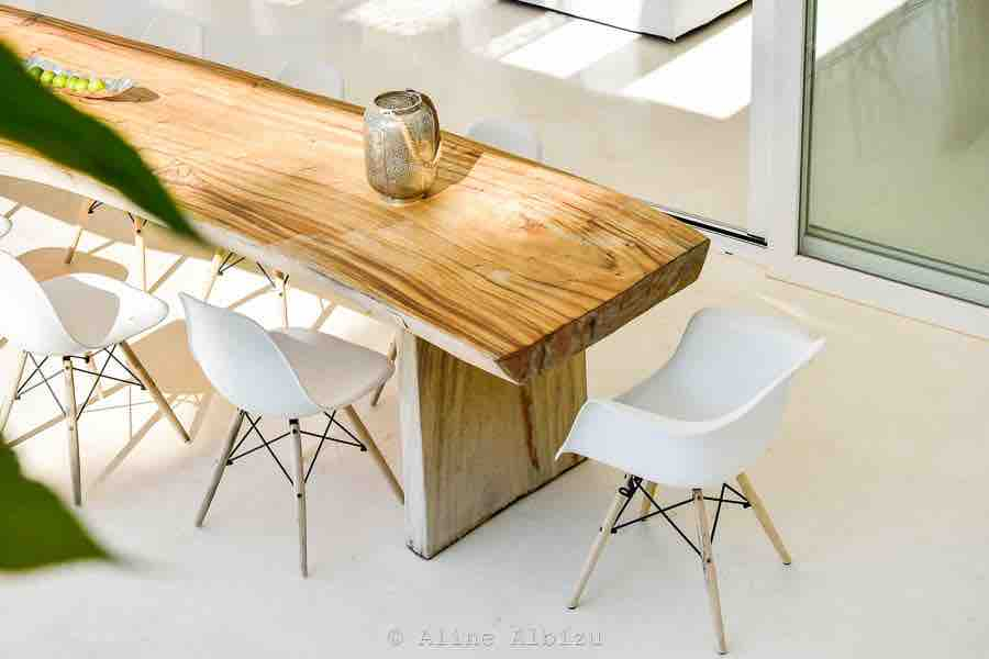 Wooden Table Chair Dining Exterior Outside Ibiza Villa