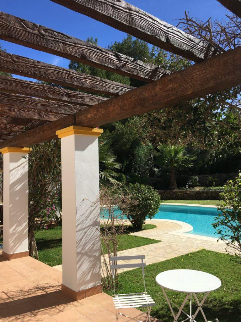Wooden Villa Driveway Beams Exterior Ibiza